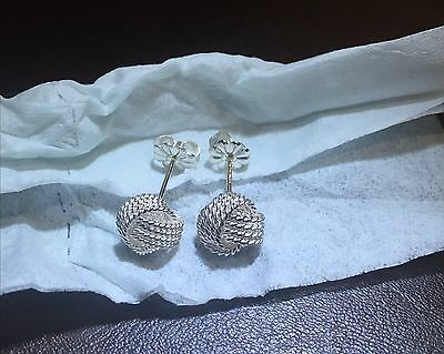 $200 Tiffany & Co. Sterling Silver 925 Twist Knot Rope Earrings with 14k Post