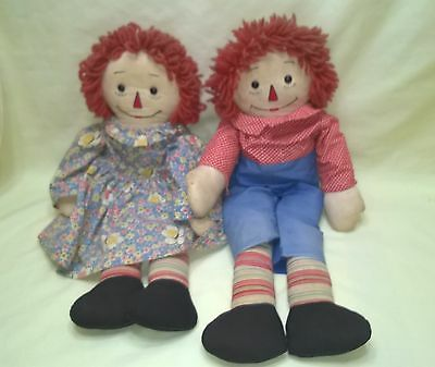 """Vintage Raggedy Ann & Andy Dolls Outlined Nose 21"""" Rare $66.99"""