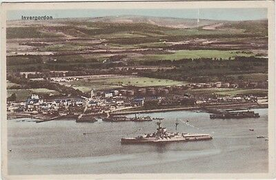 Scottish Postcard. Invergordon. Royal Navy Warship in Harbour. c 1915