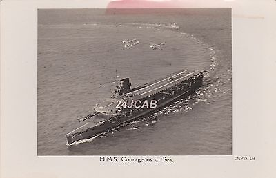 "Royal Navy Real Photo Postcard. HMS ""Courageous"" Aircraft Carrier. Biplane. 1929"