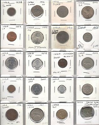 Great variety sampler lot of 20 coins from India inc. one 1,000 years old