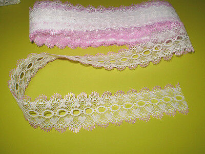 knitting in/coathanger/eyelet lace 10 meters white pink edge heart design