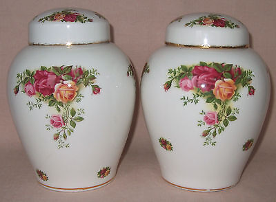 Royal Albert Old Country Roses Pair Of Large Ginger Jars, Lidded Pots, Vases