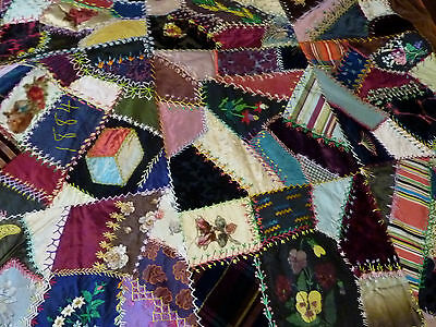 Bright Museum-Quality Dated 1880's Victorian Velvet and Silk Antique Crazy Quilt