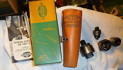 Vintage Greenlee 735 Knockout Punch Set Leather Case Box tool,Conduit,booklet