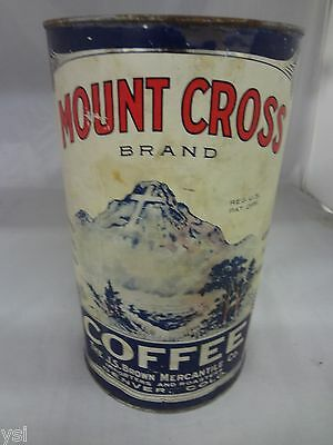 Vintage Mount Cross Brand Coffee Tin Advertising Collectible 3Lb Can  499-W