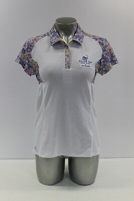 New Adidas Climalite Advance Floral Womens Golf Polo Shirt In White/blue Floral