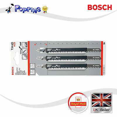 Bosch T344D HCS 152mm 3pcs For Wood T-Shank Jig Saw Blades  Made in Switzerland