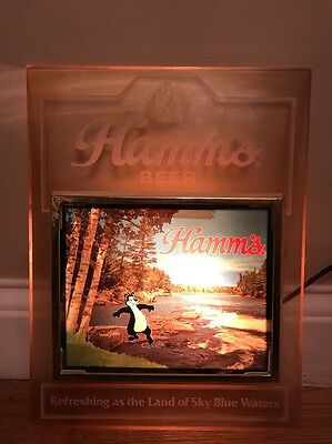Vtg Hamm's Beer Refreshing As The Land Of Sky Blue Waters Lighted Bear Sign