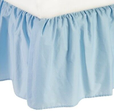 American Baby Company 100% Cotton Percale Ruffle Crib Skirt, Blue