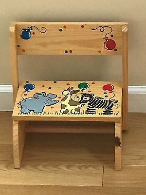 Childs / Childrens Wooden Step Stool / Bench Hand Painted Animals