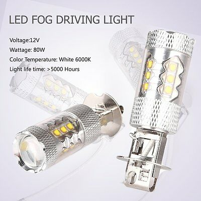 2PCS H3 80W Car LED Fog Driving Daytime Headlight Lamp Bulbs kit 6000K