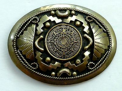 Western Style Large Alpaca Silver Mexico Signed Belt Buckle!!