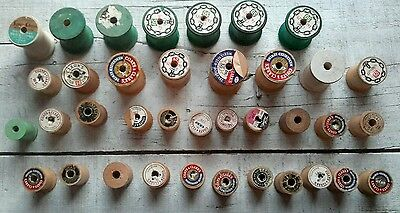 37 Vintage Antique Assorted Empty Wooden Sewing Thread Spools Wood Primitive
