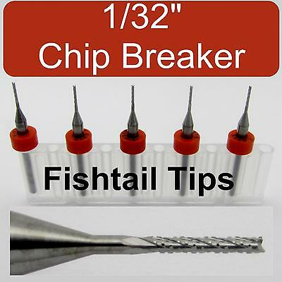 "FIVE 1/32"" Router Bits - Carbide - Chip Breaker - Fish Tail Tip CNC dremel LU"