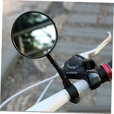 1pc Bike Bicycle Handlebar Flexible Rear Back View Rearview Mirror Black ZO