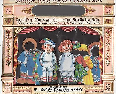 Magicloth Cloth Paper Dolls Raggedy Ann & Andy Magnetic Dolls w/10 Outfits 1995