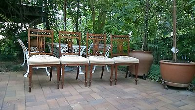 Antique Victorian - inlaid style dining chairs Qty 4