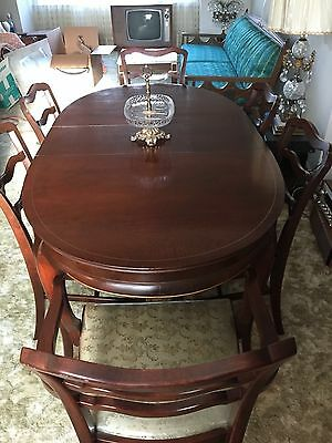 "Vintage Oval Mahogany Dining Room Table w/ 6 Chairs ""Watertown Table Slide Corp"""