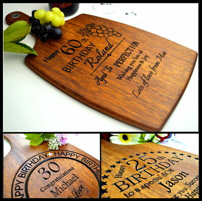 Personalised Engraved Birthday 18th 21st 30th 40th 50th 60th Gift Cutting Board