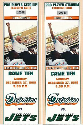 Don Shula Miami Dolphins Vs. New York Jets Game Tickets Pro Player Stadium 1999