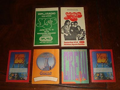 Rare LOT OF 6 YES CONCERT MEMORABILIA BACKSTAGE PASSES 1979,1980,1987  NEAR MINT