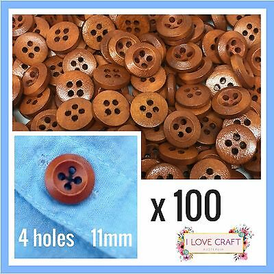100 x brown wooden buttons 4 holes 11mm round wood sewing craft diy scrapbooking
