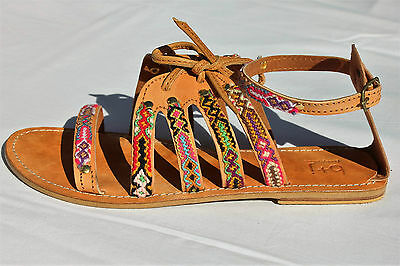 bobby+james Ladies Shoes Leather Sandals Size 10 (41) Boho Beach Tribal