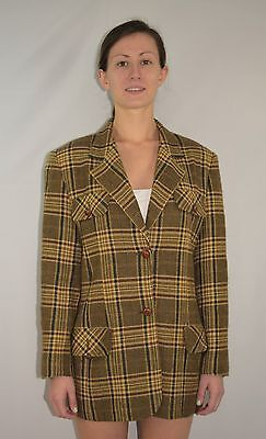 Vintage 80's 90's BURBERRYS London Wool Plaid Blazer Jacket Suit Coat Size 10