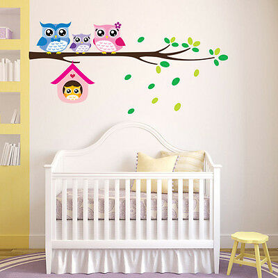 Baby Kids Wall Decals Bedroom Tree Owl Nursery Stickers Art Room Decor Removable
