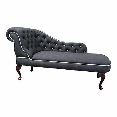 Designer Traditional Chaise Longue in Dark Grey Linen Fabric - cream detail NEW