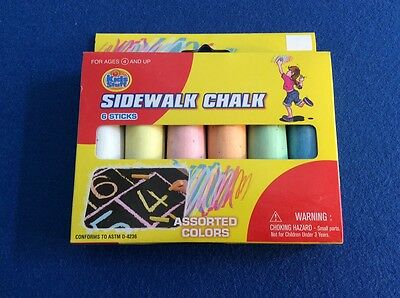 Sidewalk Chalk in assorted colors, 6 pieces, New.