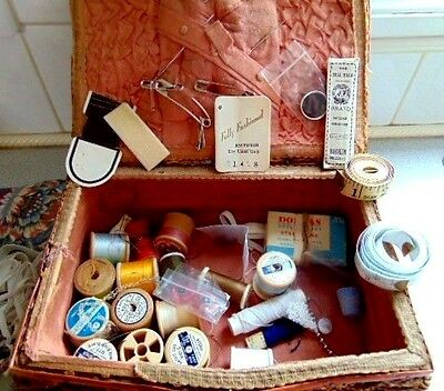 vintage sewing box and contents thread tape measures pins needles etc