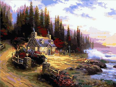 DIY Paint By Numbers 16*20 inches kit Oil Painting Suburb Cabin On Canvas 112