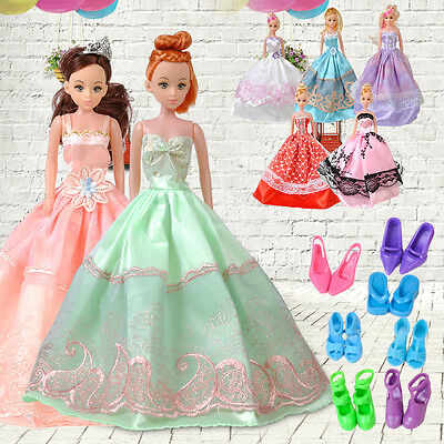 5 set Princess Wedding Bridal Dress Party Gown Clothes Outfits For Barbie Doll