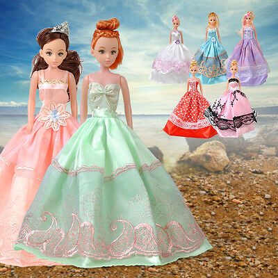 Princess Wedding Party Dress Clothes Outfit Gown + Veil Set for Barbie Doll