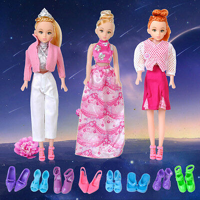 5 kit Outfit Dress Clothes + 10 Pair Shoes For Barbie Doll Wedding Party Random