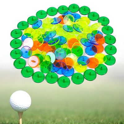 100pcs Flat Round Mixed Colour Plastic Transparent Golf Ball Position Marker