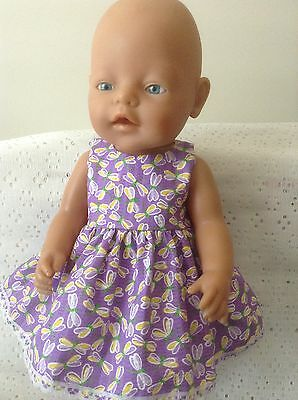 "Dolls clothes Handmade for Baby Born /CPK 16-17"" doll ~ Lilac Dragonflies Dress"