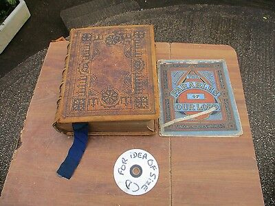 Antique  1868 Leather  Bound Holy Bible   & Parables Of Our Lord. Free  Delivery