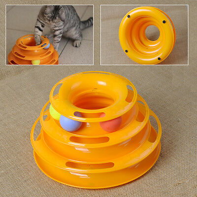 New Cat Kitty Interactive Pet Toy Amusement Plate Trilaminar Crazy Ball Disk