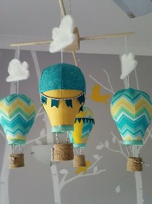Baby mobile for childs nursery - Hot Air Balloons in Turquiose and Yellow