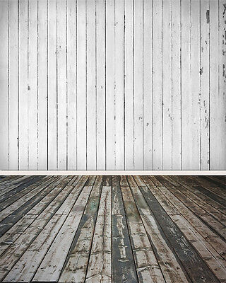 Wood Floor White Board Wall Vinyl Photography Studio Backdrop Background 5x7ft