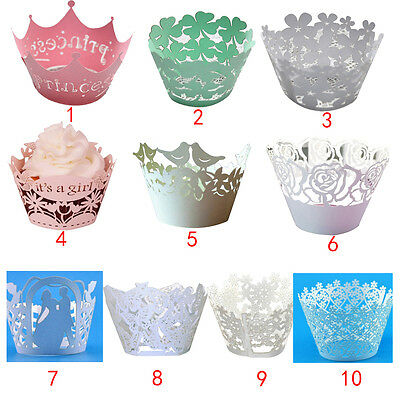 12Pcs Multiple Styles Cake Cupcake Wrappers Cases Party Wedding Laser Cut Decor