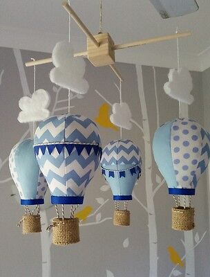 Baby mobile for childs nursery - Hot Air Balloons in Baby blue and Royal blue