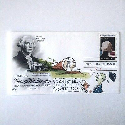 First Day Cover, Stamp, George Washington 250 Anniversary.