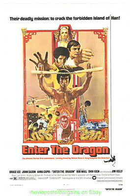 ENTER THE DRAGON MOVIE POSTER BRUCE LEE Original 27x41 Folded Now Linenbacked