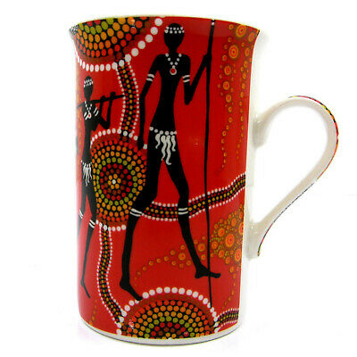 1 x Australian Aboriginal Art Fine Bone China Mug Cup Bunabiri - Of the Land