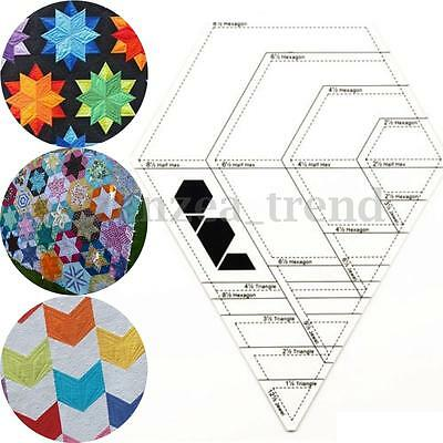 Diamond Shaped  Tailor Sewing Tools Quilting Patchwork Scrapbook Foot Ruler UK