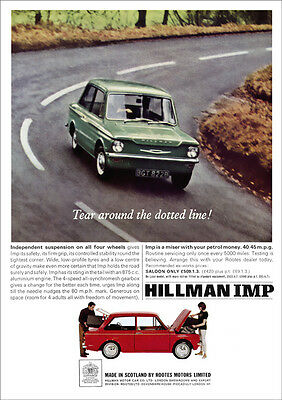 HILLMAN IMP RETRO A3 POSTER PRINT FROM CLASSIC 60's ADVERT